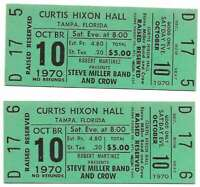 Steve Miller Band Concert Ticket Set of 2 1970 Tampa Green