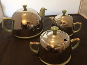 VINTAGE CHROME INSULATED STAY HOT TEA SERVICE Unusual Floral Design  (Romany ??)