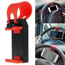 Car Interior Gps Phone Holder Mount Stand Steering Wheel Clip Accessories Red (Fits: Charger)