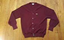 Izod LACOSTE Maroon Cardigan Sweater LARGE LS Croc Button-up VTG 90s USA