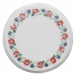 "12"" White Marble Corner Handicraft Inlay PietraDura Art Work Table Top"