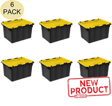 6 PACK Tote Storage Box Container 12 Gallon Plastic Bin Hinged Lid Stacking NEW
