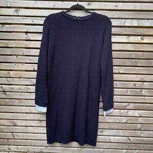 Hobbs Navy Wool Blend Knitted Jumper Dress Chambray Cuffs Size 10 VGC