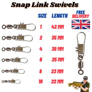 Rolling Swivel Hook Snap Link Carp/Pike/Coarse/Sea Fishing Size 1 2 4 6 8 10  UK