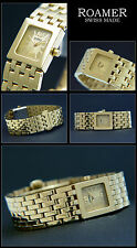 PRETTY & CUTE ROAMER WOMEN'S WATCH RIGHT SQUARE SWISS MADE 18KARAT GOLD PLATED