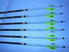 6 Gold Tip Hunter Pro 7595 340 Carbon Arrows Custom White Dip Crest/Blazer Vane