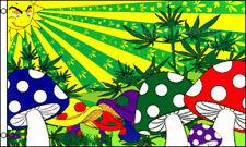Mushroom Sunshine 3x5 Polyester Marijuana Whimsical Weed Pot Leaf Flag
