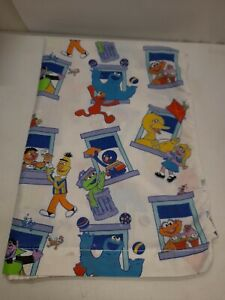 Vtg Spring 1996 Sesame Street Flat Twin Sheet Elmo Cookie Monster Portraits