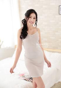 DANEE 100% Pure Natural Silk Women's Short Satin Sheer Slip Dress | Knit Stretch