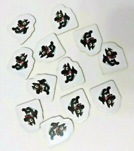Replacement Pieces MONOPOLY JR - 12 BLACK DOG Character Sold Sign Markers