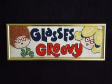 """Optometrist Glasses Are Groovy Needlepoint Wall Hanging Framed 19"""" x 7"""""""
