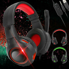 Wired Stereo Bass Surround Gaming Headset W/Mic LED Light For PS4 Xbox One PC