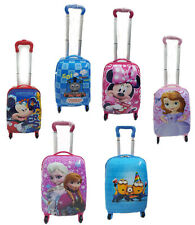 Hard Shell Kids Character Holiday Luggage 4 Wheels Trolley Suitcase Cabin Bag UK