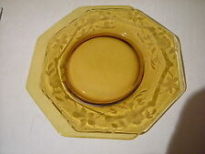 """8 SIDED OCTAGON 8 3/16"""" AMBER GLASS PLATE DISH  ? DEPRESSION-READ ALL DETAILS"""