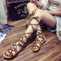 Women Summer Flat Cut Out Lace Up Knee High Strap Gladiator Sandals Boots Shoes