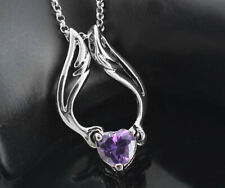 "White Gold Angel Amethyst Heart Necklace Made with Swarovski Elements 17"" to 19"""