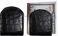 Lot of 2 New Black Crocodile printed leather Unbranded money clip Clip  Money BN
