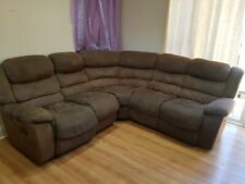 Chocolate Brown 6 Seater leather Sueed sofa.
