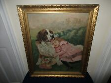 Antique Oil on Canvas Painting Young Girl Sleeping w/ Saint Bernard Dog Flowers