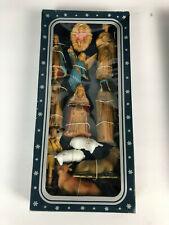 12 Piece Set Vintage Christmas Nativity Scene Hard Plastic Hand Decorated