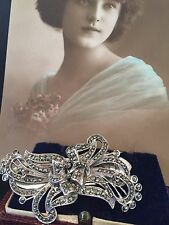 SOLID STERLING SILVER Art Deco  1920/30's Marcasite Duette Dress Clip Brooch