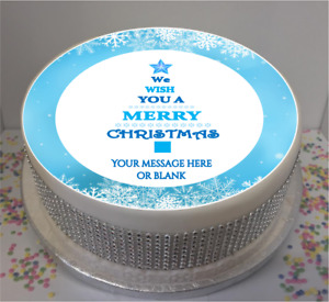 """Personalised Merry Christmas Tree (blue)  8"""" Icing Sheet / Cake Topper"""