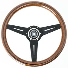 NARDI CLASSIC WOOD STEERING WHEEL W/ BLACK SPOKES & HORN BUTTON 360MM
