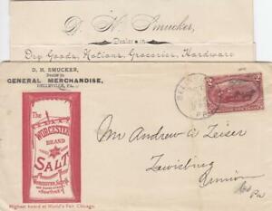 1898, Adv: Worcester Salt, Belleville to Lewisburg, PA, See Remark (39706)