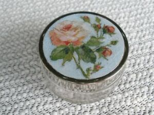 French Decoupage Pill Box with Pink Rose in Glass with Metal Lid