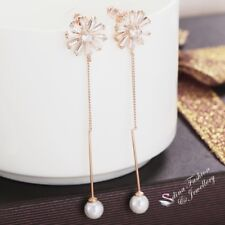 18K Rose Gold Plated Stylish CZ Flower Strip Simulated Pearl Drop Earrings