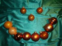 ~ Konvolut 11 alte Christbaumkugeln Glas orange Vintage Weihnachtsnaumkugeln CBS