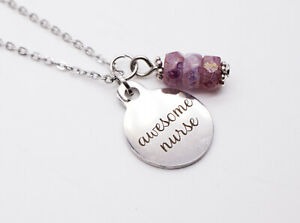 """'awesome nurse' 18"""" Long Necklace - Stainless Steel (Hypoallergenic)"""