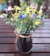 Mini Artificial Flowers Plant Desktop Vase Floral Decor Summer Spring Easter #1