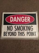 """New listing Danger No Smoking Beyond This Point Heavy Metal Sign 14""""x10"""""""