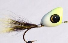 "3 New Jamison Lure & Fly ""Chartreuse & White"" No Hackle Fly Rod Popper!"