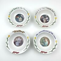 Set of Four Kelloggs Anniversary Ceramic Cereal Bowls Vintage Graphics 1996 USA