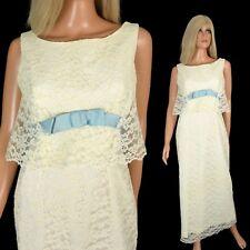 Vtg 50s 60s Cream CHANTILLY LACE DRESS Pencil Evening Maxi Cotillion Ball Gown