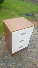 3 Draw Bedside Cabinet in Wood Veneer and with White Fronts and Recessed Handles