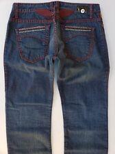 41299a6b New Men's ROBIN'S JEAN sz 38 Heavy Stitching Straight Jeans -Red/Clear  Swarovski