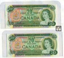 Pair of Sequential Replacement 1969 $20 BOC Bank Notes , AU , BC-50aA (OOAK)
