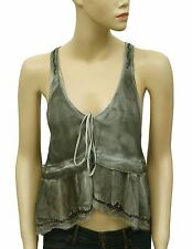 139176 NEW Free People Bead Embellished Ruffle Tie & dye Gray Crop Blouse Top M