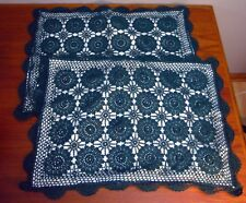 2 Standard sz Crocheted Pillow Shams 100% Cotton Raised Floral Design Dark Green