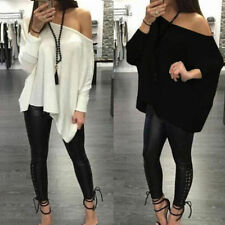 New Fashion Off Shoulder Batwing Loose Baggy Oversized Cotton Top Blouse T Shirt