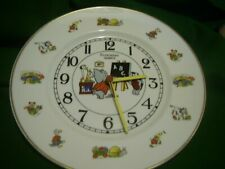 "WHITE CHINA 11"" PLATE CLOCK   Featuring  Children Carton Animals"