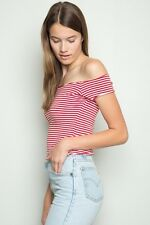 New! brandy melville red/white Striped Cropped off shoulder cotton Lee top NWT