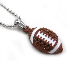 American Football Sports Pendant Necklace Silver Tone Brown Stone Enamel Jewelry