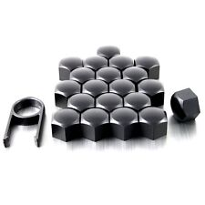 20 17mm MATT BLACK ALLOY WHEEL NUT BOLT COVERS CAPS UNIVERSAL SET FOR SAAB