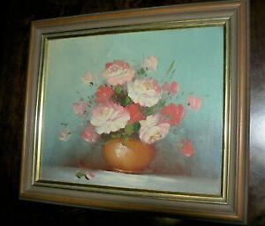 Oil on Canvas Board. Floral. Framed.