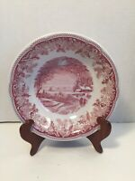 Spode Winter's Eve Red White Porcelain Soup Salad Bowl Made in England Vintage