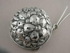 Antique Sterling Silver TEA STRAINER w/ floral Repousse